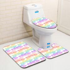 3pcs Unicorn Set Anti-slip Bathroom Pedestal Rug Lid Toilet Cover Bath Mat