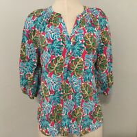 Crown Ivy Womens Size Small Blouse Top Pink Teal Split Neck 3/4 Sleeve Rayon