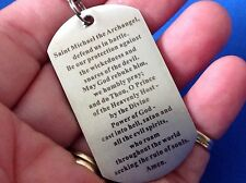 Rare Archangel St MICHAEL Defender Prayer NECKLACE Stainless Steel Dog Tag 22""