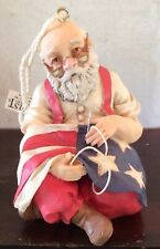 Christmas Ornament: Santa Sewing American Flag Resin By Midwest Importers NIB