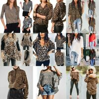 Women Irregular Leopard Print V Neck 3/4-Long Sleeve Blouse Top Loose T Shirt AU