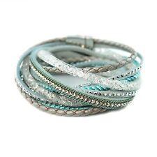 Bracelet wrap  slake  brésilien  ethnique  strass cristal qualité  bleu et blanc