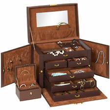 Leather Jewelry Box Organizer Storage With Mini Travel Case- Brown