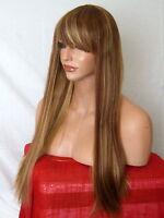 Light Blonde Brown Wig Womens long straight fringe party Ladies Full Hair Wig N9