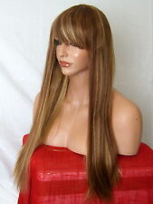 Light Blonde Brown Wig Womens long straight fringe party Ladies Full Hair Wig N9