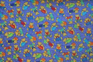 """Homemade quilted Lap Throw or crib quilt 35x43"""" purple yellow teddy bears floral"""