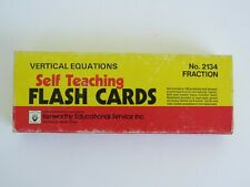 "Vintage Vertical Equations Self Teaching ""Fraction"" Flash Cards © 1955 9""x3½"""