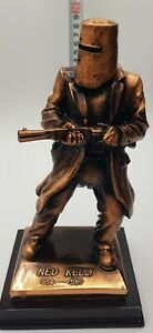 Ned Kelly Statue/Figurine. Metallic Copper Colour 20cm High on Wooden Stand.