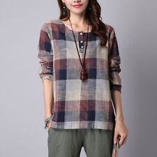 ZANZEA Women's Long Sleeve Vintage Plaid Check Casual Buttons Blouse Shirt Tops