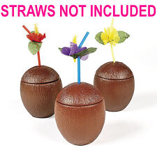 12 Realistic COCONUT DRINK Cups Luau Beach Tropical Party ALOHA Barware