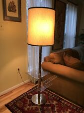 Mid Century Berman Brass Floor Lamp Lucite Acrylic Magazine Rack Vintage