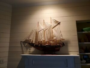 "Vintage Large Scale 50"" wood SCHOONER SHIP MODEL 3 Mast Sailboat Pond Yacht"