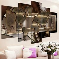 5PCS Framed Modern Canvas Print Picture Wall Art Decor Home World Map Abstract