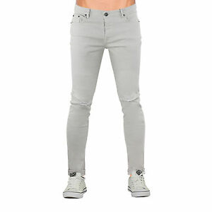 Mens Skinny Jeans Brave Soul Akito Stretch Ripped Roll Up Denim Pants