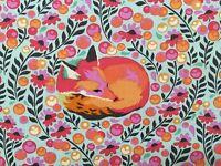 By 1/2 Yard ~ Free Spirit Tula Pink Fabric Chipper ~ Fox Nap Sorbet ~ aqua pink