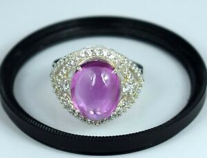Ceylon Padparadscha Pink Sapphire 925 Silver Ring Natural 14.19 Ct Oval Cabochon