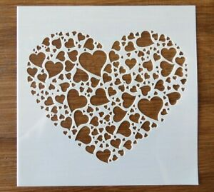 PLASTIC LOVE HEART STENCIL 130mm x 130mm