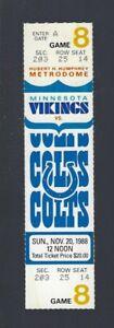 1988 NFL INDIANAPOLIS COLTS @ MINNESOTA VIKINGS FULL UNUSED FOOTBALL TICKET