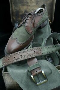 Handmade Men Brown Leather and Green Suede Brogue Dress Shoes, Formal Shoes