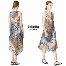 Paisley Gypsy Boho Midi Shift Dress Size 12 Womens