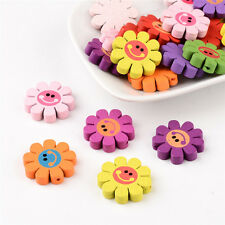 20PCS Mixed Printed Wood Sunflower Beads Children's Day Gift Ideas Dyed 23mm