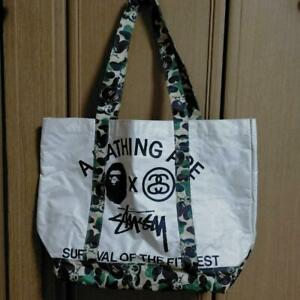 A BATHING APE BAPE × Stussy Nylon Tote Bag Pouch Beige camouflage Band RARE