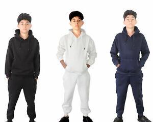 New Kids Boys Plain Tracksuit Set Jogging Bottoms Pullover Hoodie Joggers Fleece