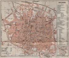 BOLOGNA Antico Città City PIANOFORTE piano urbanistico. ITALIA mappa 1909 Old