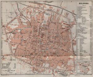 BOLOGNA antique town city plan piano urbanistico. Italy mappa 1909 old