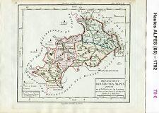Dépt 05 - XVIII è Carte des Hautes Alpes Superbe Gravure Cuivre Aquarellée 1792