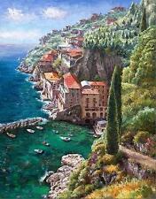 """SAM PARK """"Andrea De Luca"""" Hillside Waterfront 32x24 Hand S/# Embell. Giclee PCOA"""