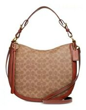 Coach Coate Canvas Signature Sutton Hobo-Crossbody Tan/Rust Bag