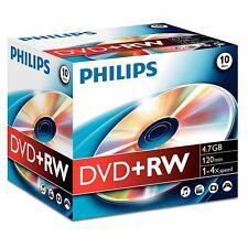 10 Philips DVD+RW RE-WRITABLE DVD's 10 Pack Jewel Case Blank DVD Discs
