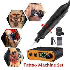 Tattoo Machine Kit Rotary Motor Pen Machine Gun Color Inks Needles With Power