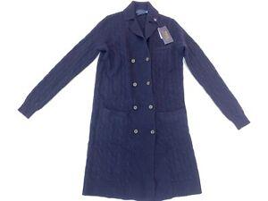 Polo Ralph Lauren Women's Blue Cable Knit Cardigan Cashmere Sweater