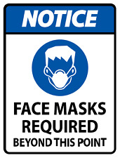 NOTICE FACE MASK REQUIRED (2) STICKERS / SAFETY SIGN / FOR DOOR OR WINDOW
