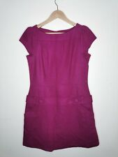 Warehouse ladies dress dark lila purple size 14 wool blend pockets