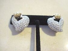 Vintage Swarovski Signed Heart Clip-On Earrings Mint Condition 564