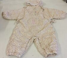 Baby Girls Chicco Padded Pram Snow Suit Age 9 Months Hood Poppers Ties Toddler