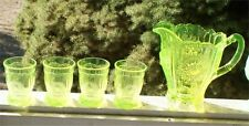 Water Set Dahlia Passion Vaseline Glass - Pitcher & 4 Tumblers green yellow