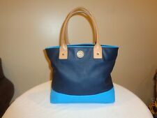Authentic Tory Burch Jaden Dipped Canvas Tote Turquoise Navy Colorblock