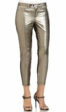 Robert Rodriguez Zip detail Silver Metallic Leather Cropped Pants Sz 6, 8 $1200