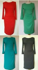 NEW ASOS Plain Black Red Blue Green Grey Bodycon Day Evening Midi Dress 8-18