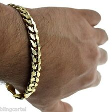 "Curb Cuban Link 9mm Chain Bracelet 14k Gold Plated Hip Hop 9"" Inch Mens Miami"