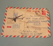 Vintage 1960's Riga Latvia Ussr Airmail Postal Cover with Russian Airplane