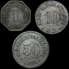 NOTGELD: 1, 10 & 50 Pfennig 1918. STADT HOF / BAYERN.