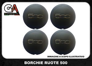Coprimozzo Fiat 500 Coppa ruota Coppetta cerchio in lega Borchia Nero KIT 4 pz