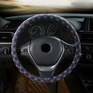"""1x 15""""/38cm Leather Auto Car Steering Wheel Cover Black Universal Fit Protection"""