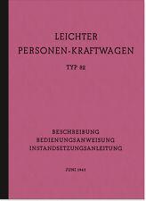 VW Typ 82 K1 Kübelwagen Bedienungsanleitung Betriebsanleitung Handbuch Manual