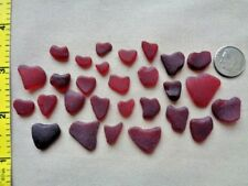 PURE BEACH SEA GLASS SURF TUMBLED ROYAL RUBY RED HEART SHAPE FROSTED VALENTINE J